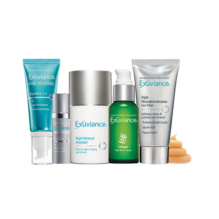 Exuviance - utvecklad hudvård till bra priser och produkter för alla hudtyper. Ej testat på djur. Boka Hudvårdssalongen.